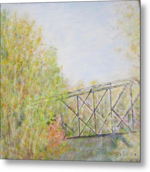 Fall Foliage And Bridge In Nh Metal Print