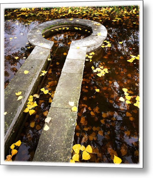 Fall Foliage And Water Fountain Metal Print