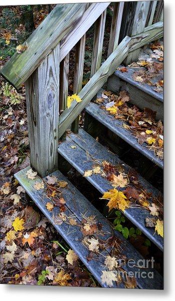 Fall Leaves On Steps Metal Print
