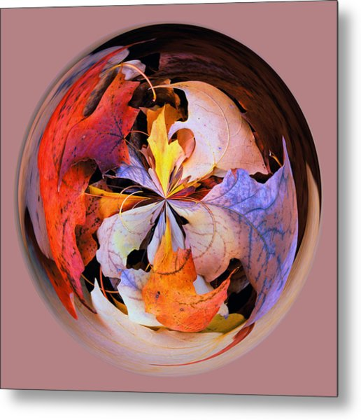 Fall Leaves Orb Metal Print