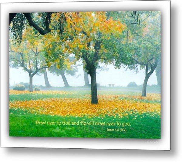 Fall Leaves W Scripture Metal Print