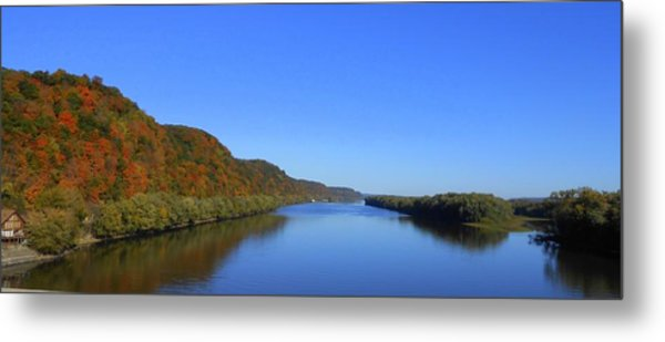 Fall On The Mississippi River  Metal Print by Dina Stillwell