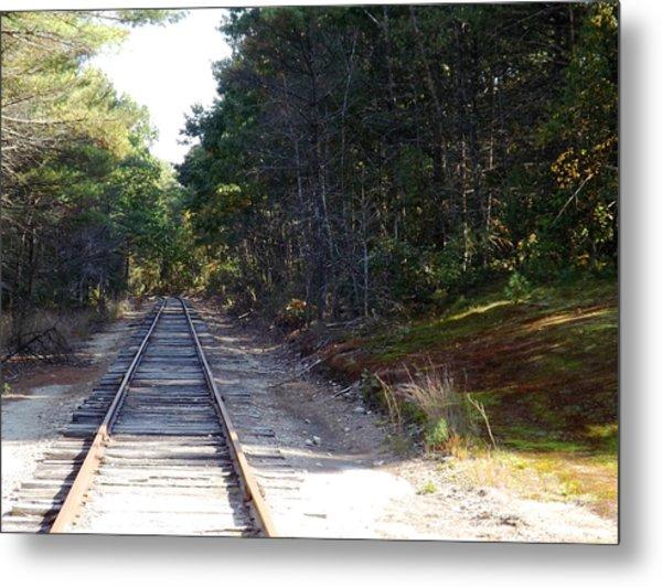 Fall Railroad Track To Somewhere Metal Print