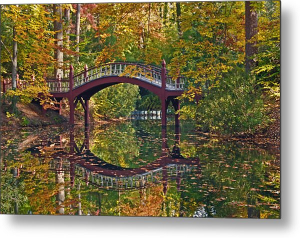 Fall Reflections At Crim Dell Metal Print