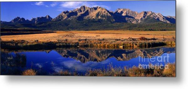 Fall Reflections Sawtooth Mountains Idaho Metal Print