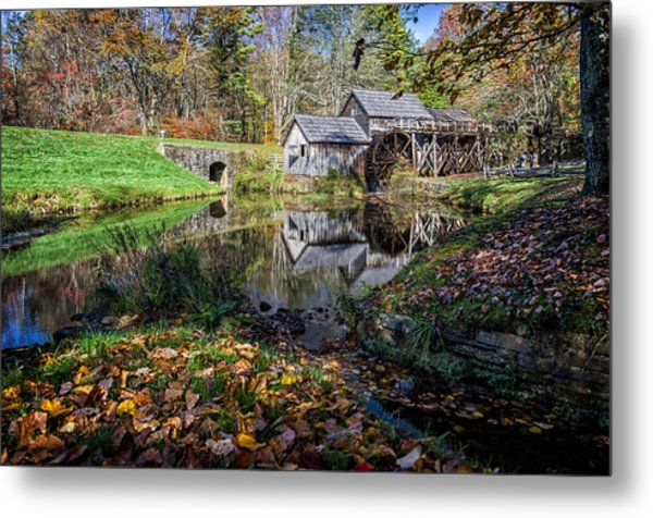 Fallen Leaves At Mabry Mill Metal Print