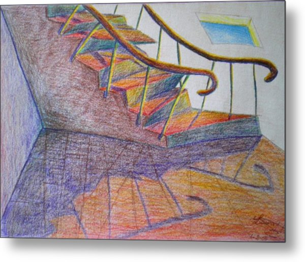 Falling Down The Stairs Metal Print