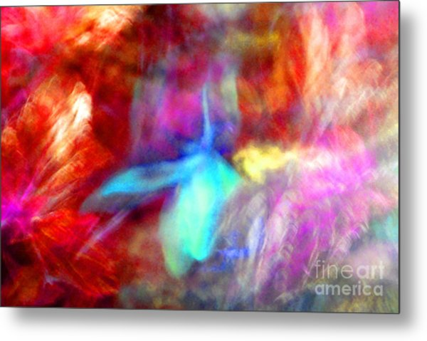 Falling Petal Abstract Red Magenta And Blue B Metal Print