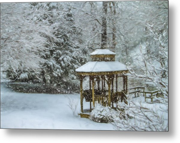 Falling Snow - Winter Landscape Metal Print by Barry Jones