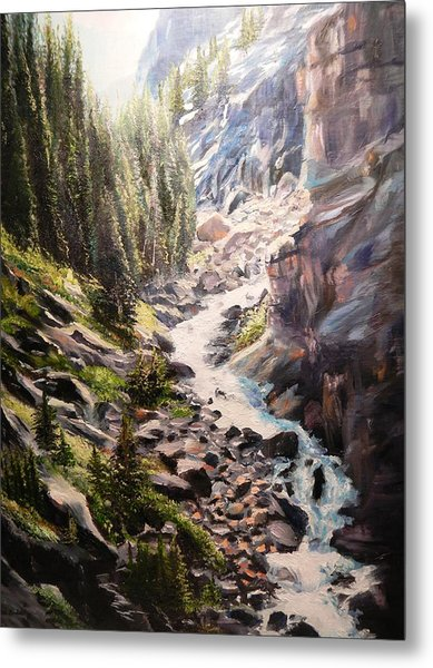 Falls Below Rimrock Lake Metal Print
