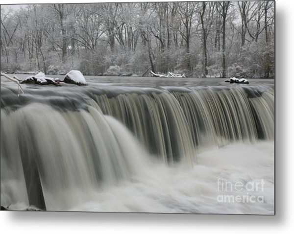 Falls In Winter Metal Print
