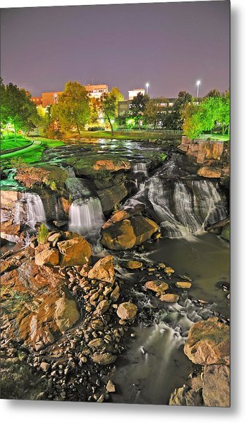 Falls Park Waterfall At Night In Downtown Greenville Sc Metal Print