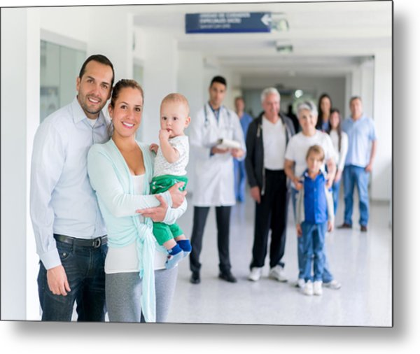 Family At The Hospital Metal Print by Andresr