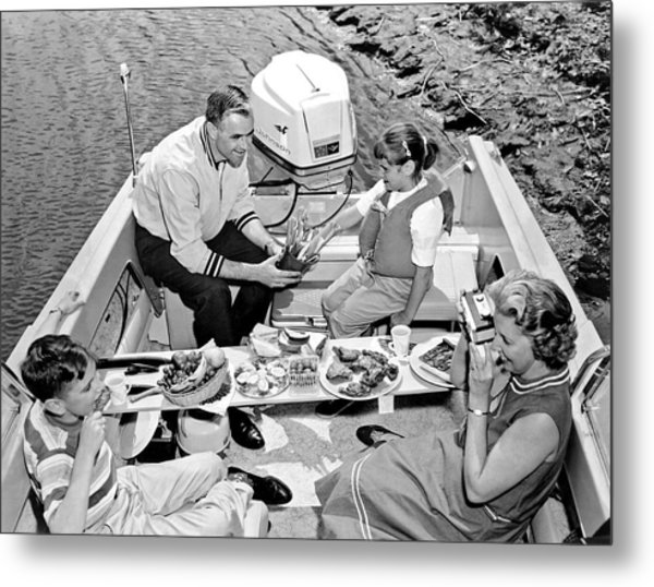 Family Boating Lunch Metal Print