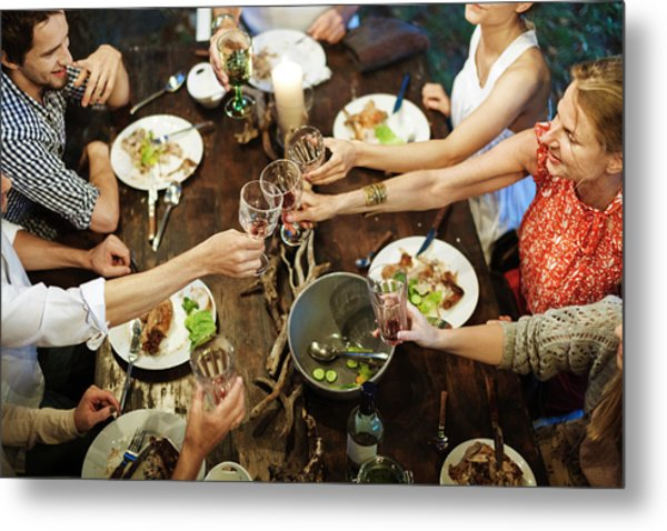Family Celebrating Garden Party Metal Print by Hinterhaus Productions