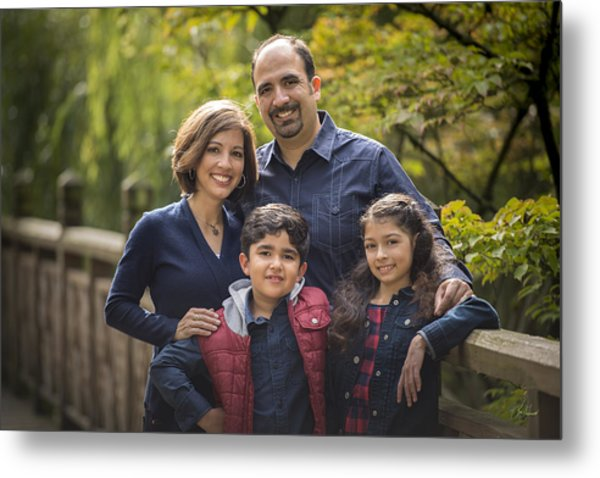 Family Portrait On Bridge - 1 Metal Print