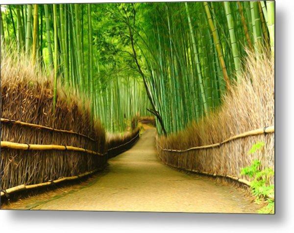 Famous Bamboo Grove At Arashiyama Metal Print