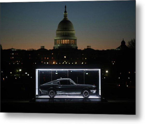 Famous Bullitt Mustang On Display On Metal Print by Mark Wilson