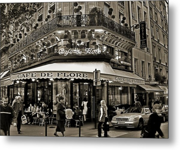 Famous Cafe De Flore - Paris Metal Print
