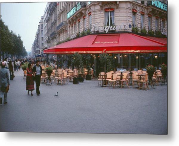 Famous Paris Restaurant - Fouquet's Metal Print