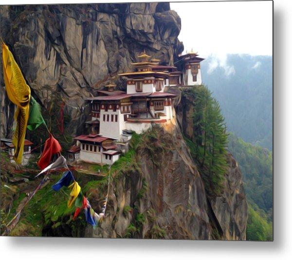 Famous Tigers Nest Monastery Of Bhutan 10 Metal Print