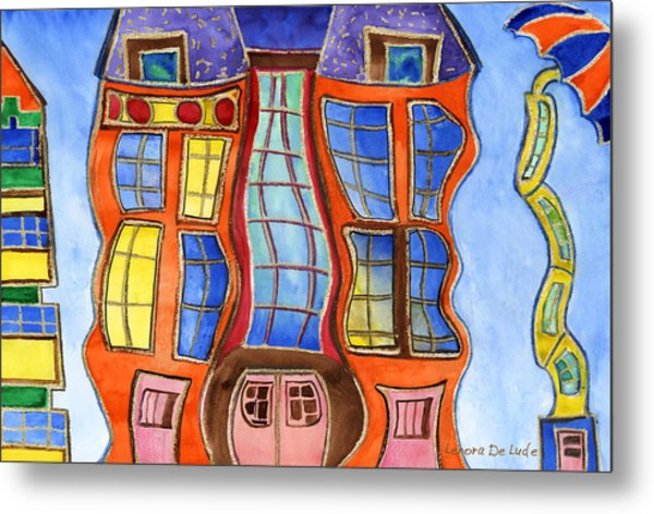 Fanciful Wavy House Painting Metal Print
