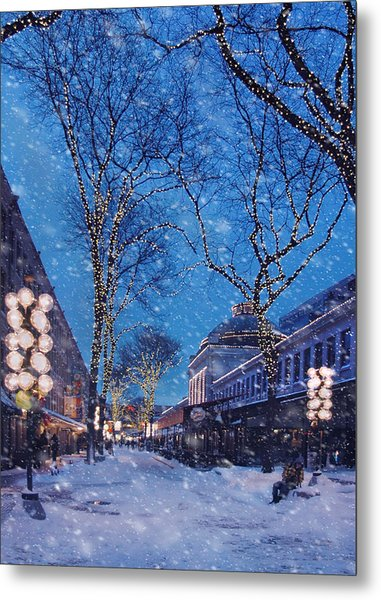 Faneuil Hall Winter Snow - Boston Metal Print