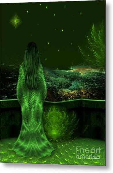 Fantasy Art - Wishing Upon A Star In A Green Night  By Rgiada  Metal Print