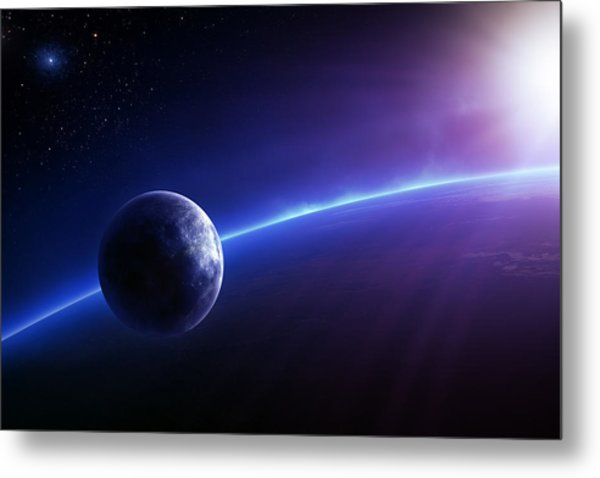 Fantasy Earth And Moon With Colourful  Sunrise Metal Print
