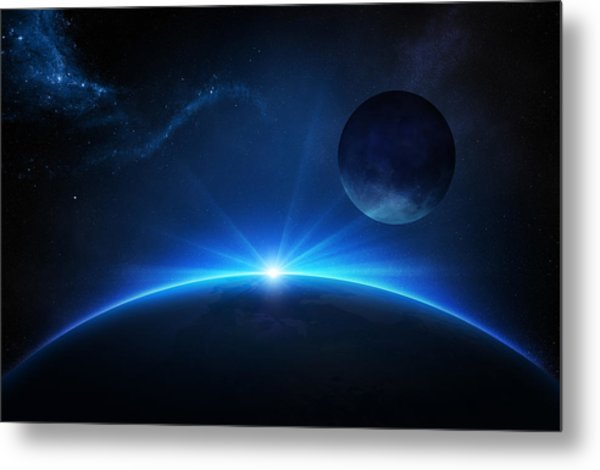Fantasy Earth And Moon With Sunrise Metal Print