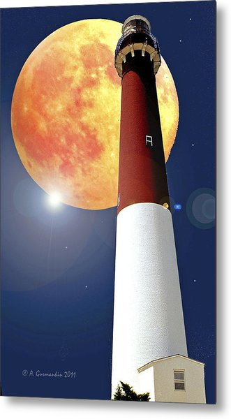 Fantasy Lighthouse And Full Moon Poster Image Metal Print