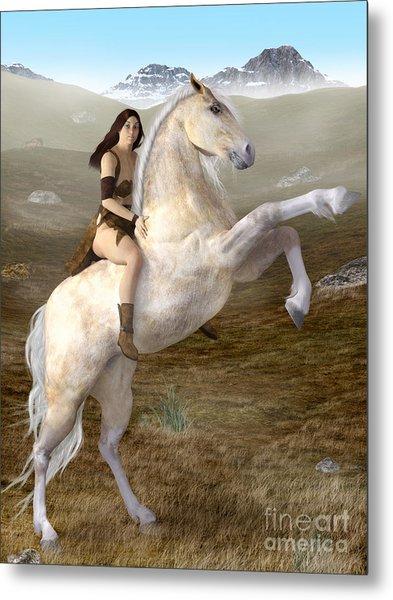Fantasy Woman On Rearing Horse Metal Print