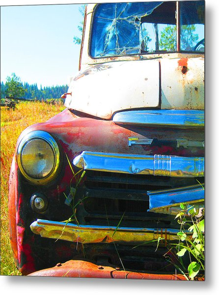 Fargo Red And White Metal Print