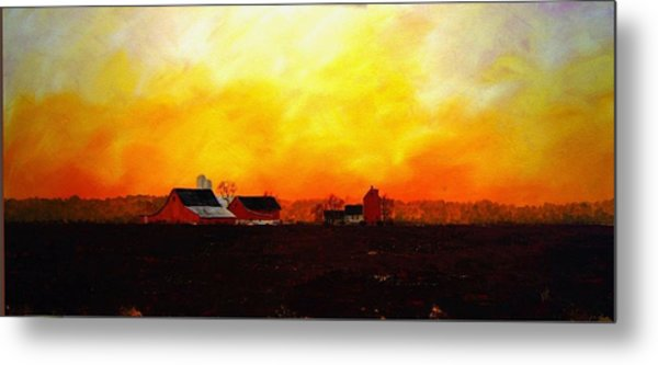 Farm At Dawn Metal Print