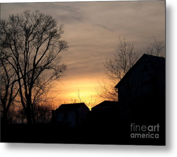 Farm At Dusk Metal Print