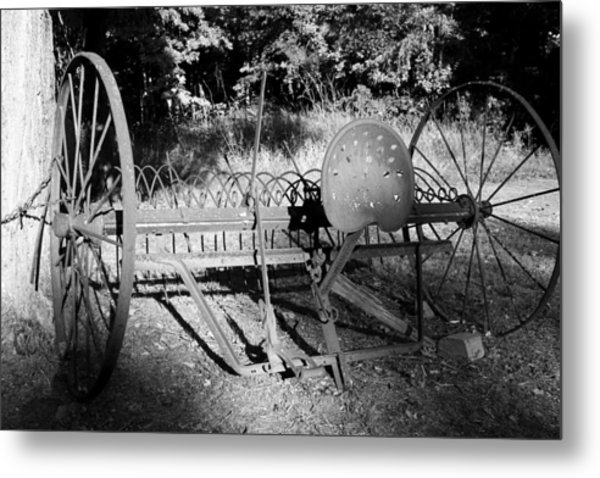 Farm Equipment Bw Metal Print by Mary Bedy