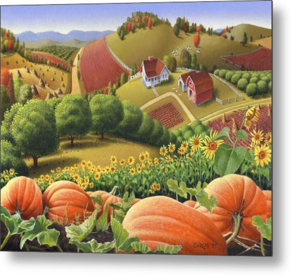 Farm Landscape - Autumn Rural Country Pumpkins Folk Art - Appalachian Americana - Fall Pumpkin Patch Metal Print