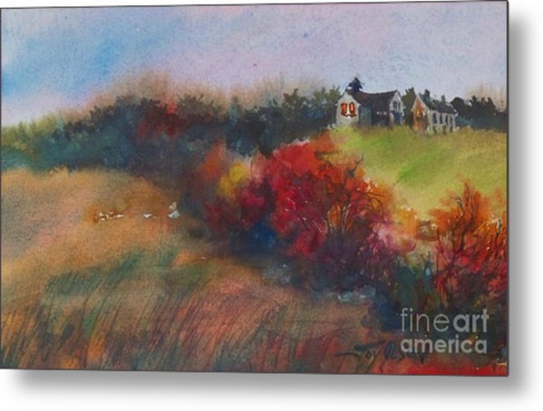 Farm On The Hill At Sunset Metal Print
