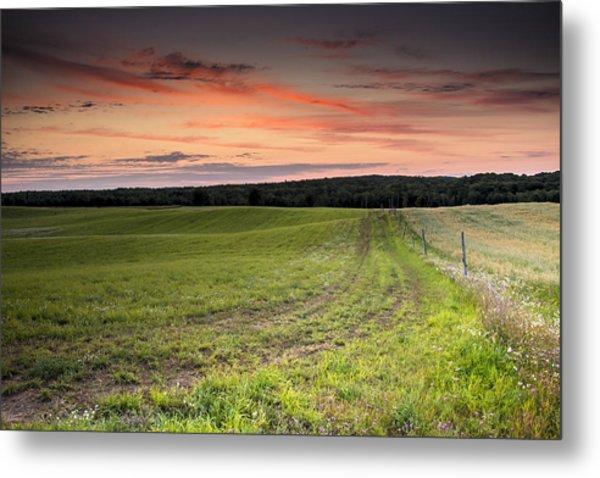 Farm Road Dawn Metal Print
