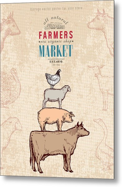 Farm Shop Vintage Poster Retro Butcher Metal Print