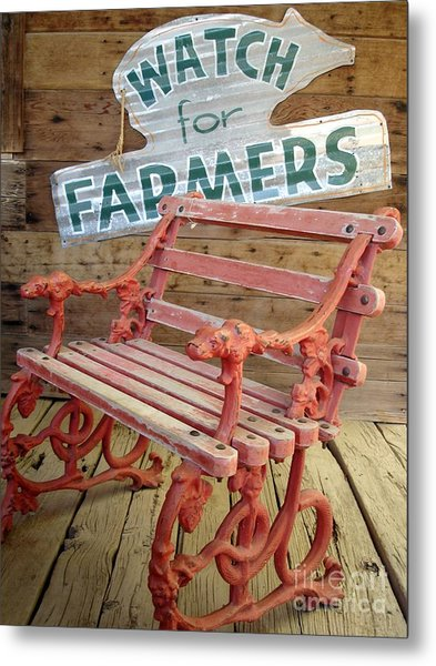 Farmer Bench Metal Print