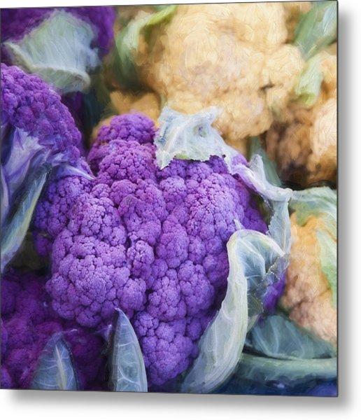 Farmers Market Purple Cauliflower Square Metal Print
