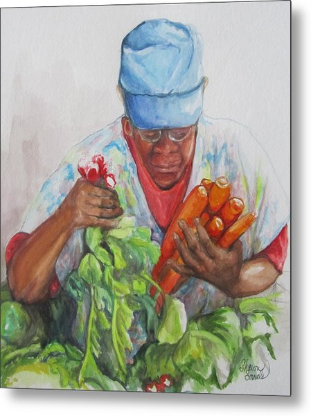 Farmers Market Vendor Metal Print