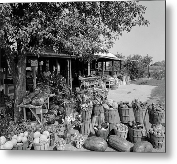 Farmers Market With Bushel Baskets Metal Print