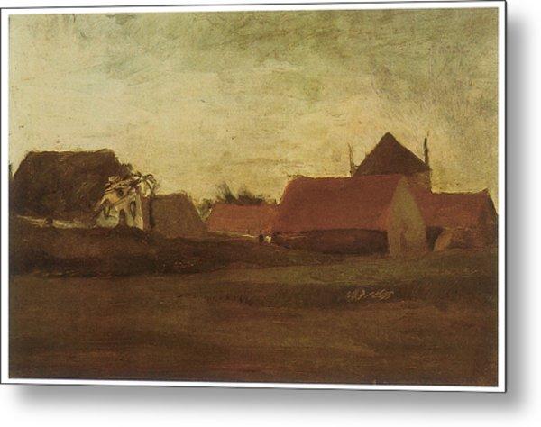 Farmhouses In Loosduinen Near The Hague At Twilight Metal Print by Vincent van Gogh