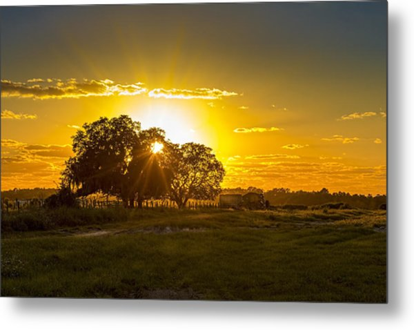 Farmland Sunset Metal Print