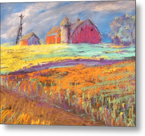 Farmland Sunset Metal Print