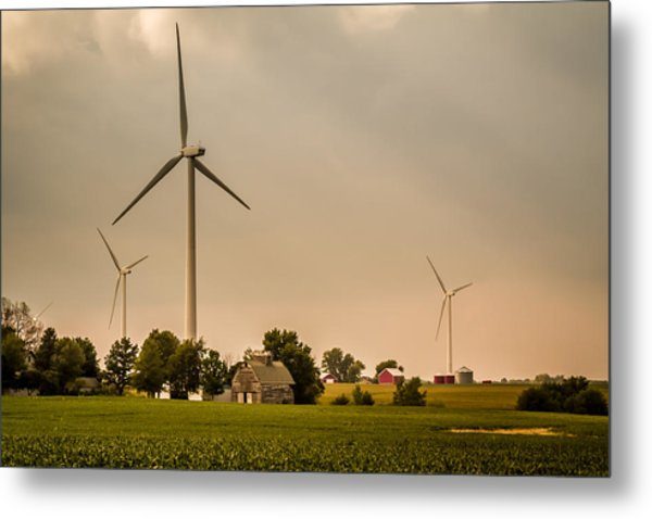 Farms And Windmills Metal Print