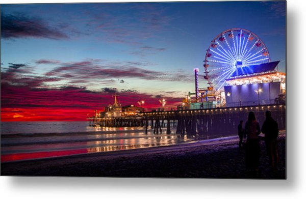 Ferris Wheel On The Santa Monica California Pier At Sunset Fine Art Photography Print Metal Print