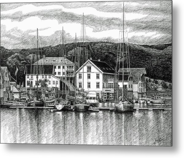 Farsund Dock Scene Pen And Ink Metal Print